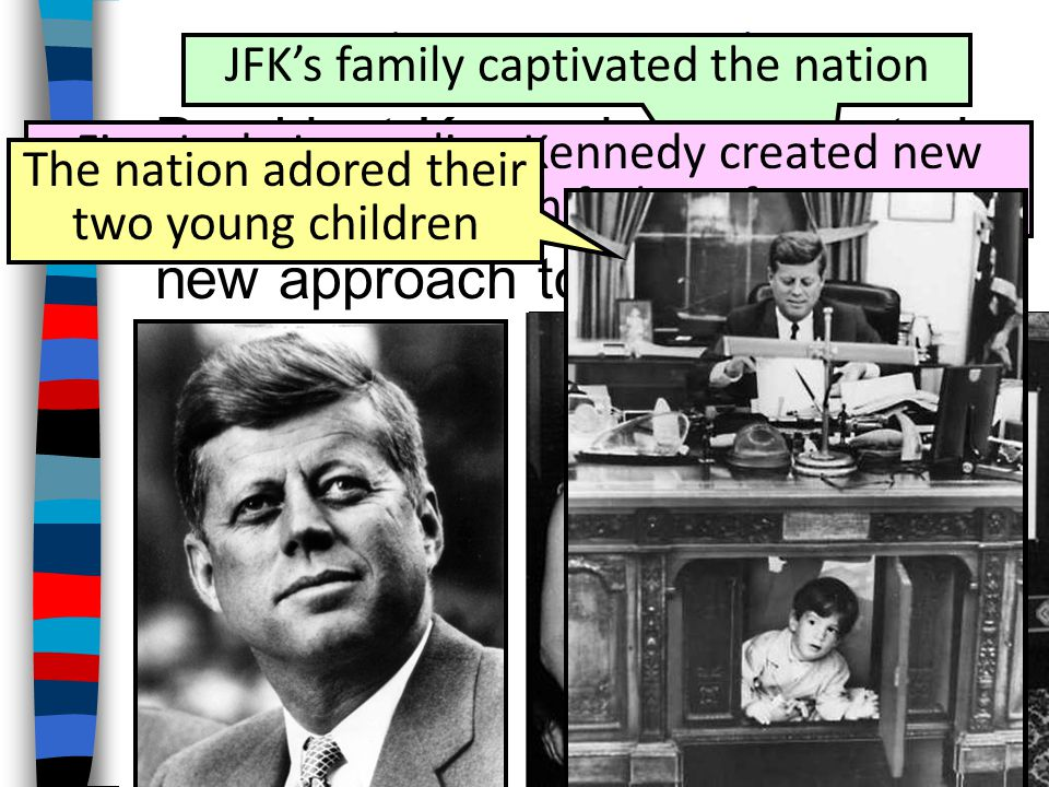 The New Frontier JFK's family captivated the nation. President Kennedy represented youth, charisma, hope, & a new approach to government.