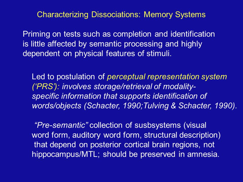 Characterizing Dissociations: Memory Systems