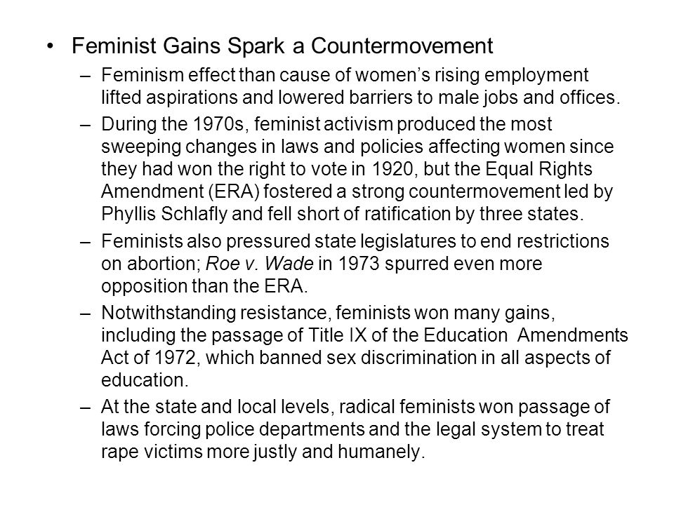 Feminist Gains Spark a Countermovement