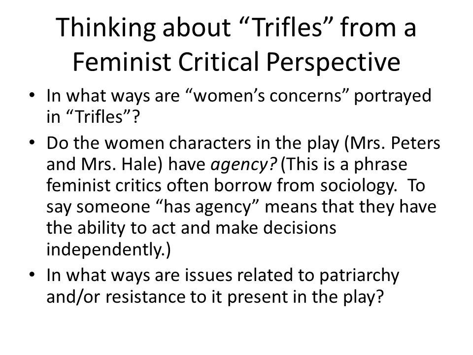 trifles gender conflict essay Gender issues in trifles - essay example the author has used various literary elements like strong plot, setting, character, gender conflict.