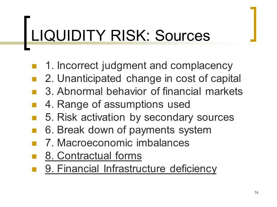 LIQUIDITY RISK: Sources