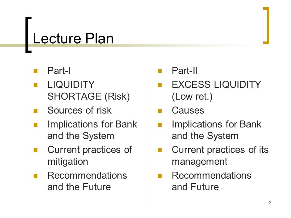 Lecture Plan Part-I LIQUIDITY SHORTAGE (Risk) Sources of risk