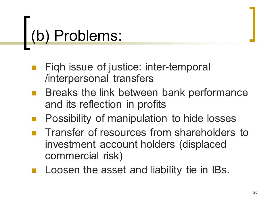 (b) Problems: Fiqh issue of justice: inter-temporal /interpersonal transfers. Breaks the link between bank performance and its reflection in profits.