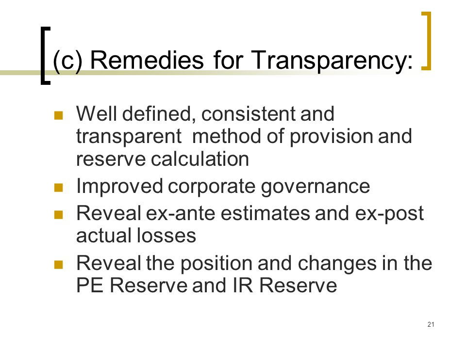 (c) Remedies for Transparency: