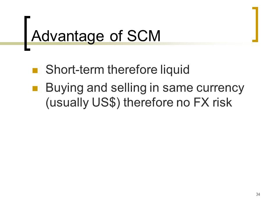 Advantage of SCM Short-term therefore liquid