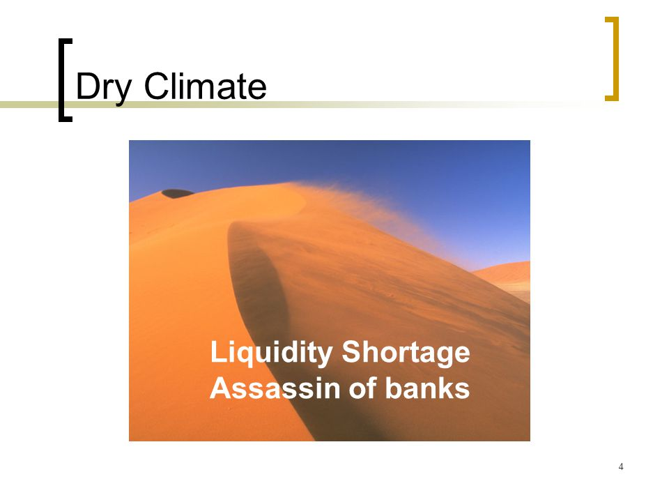 Dry Climate Liquidity Shortage Assassin of banks