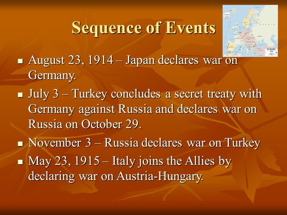 Sequence of Events August 23, 1914 – Japan declares war on Germany.