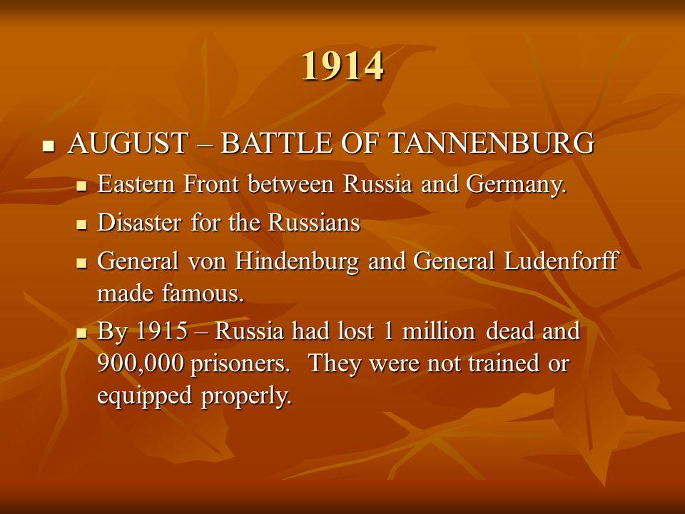 1914 AUGUST – BATTLE OF TANNENBURG