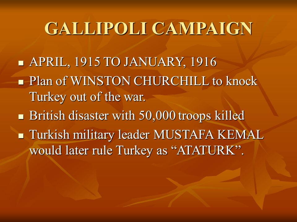 GALLIPOLI CAMPAIGN APRIL, 1915 TO JANUARY, 1916