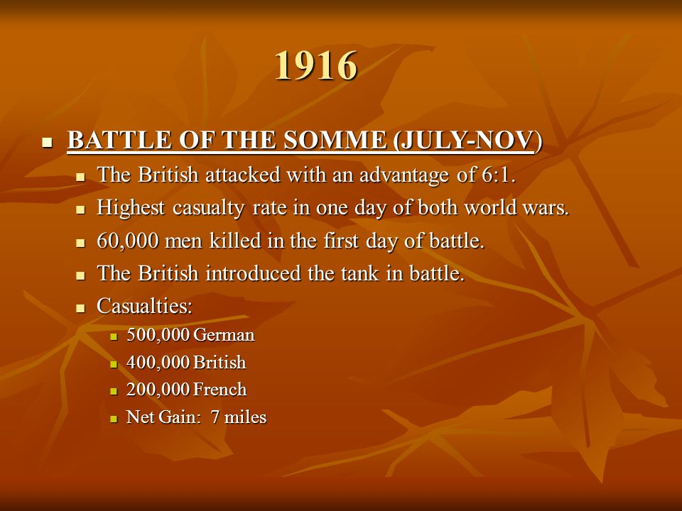 1916 BATTLE OF THE SOMME (JULY-NOV)