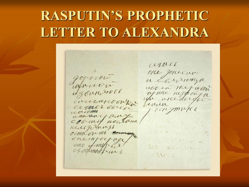 RASPUTIN'S PROPHETIC LETTER TO ALEXANDRA