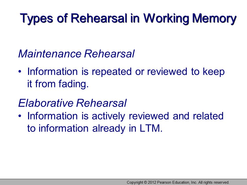 Types of Rehearsal in Working Memory