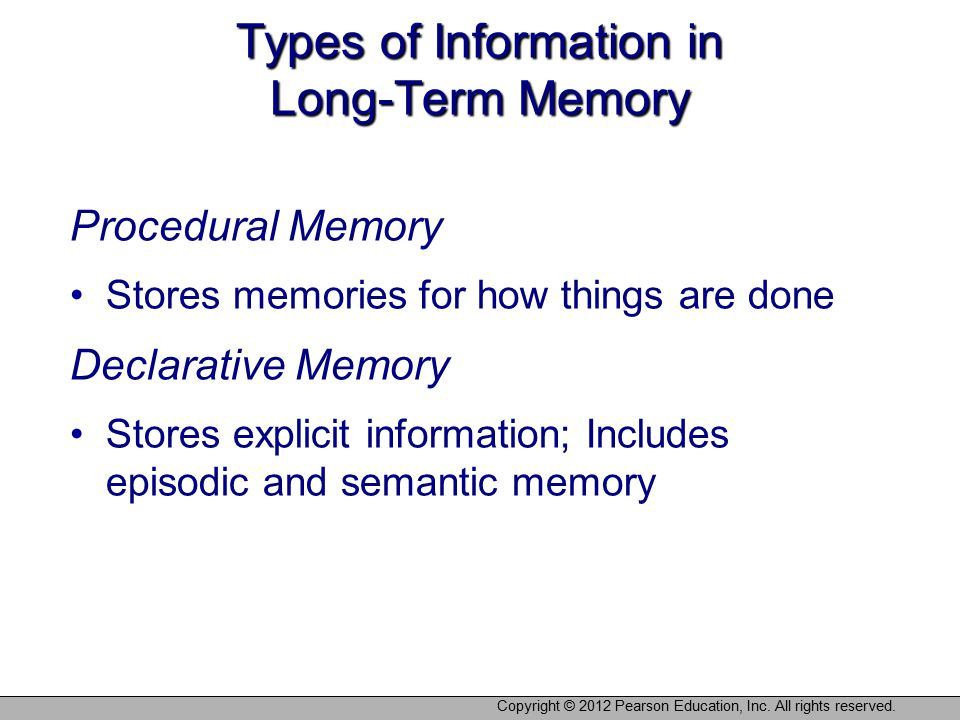 Types of Information in Long-Term Memory