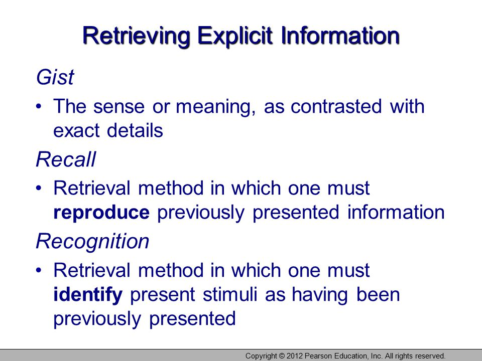 Retrieving Explicit Information