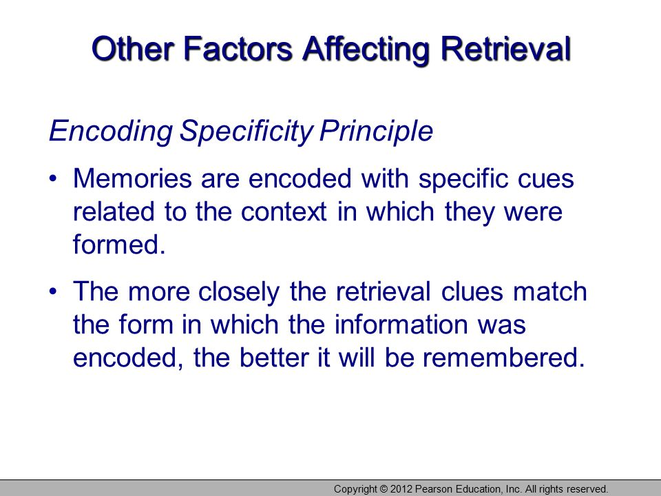 Other Factors Affecting Retrieval