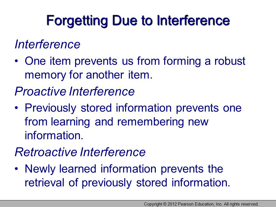 Forgetting Due to Interference