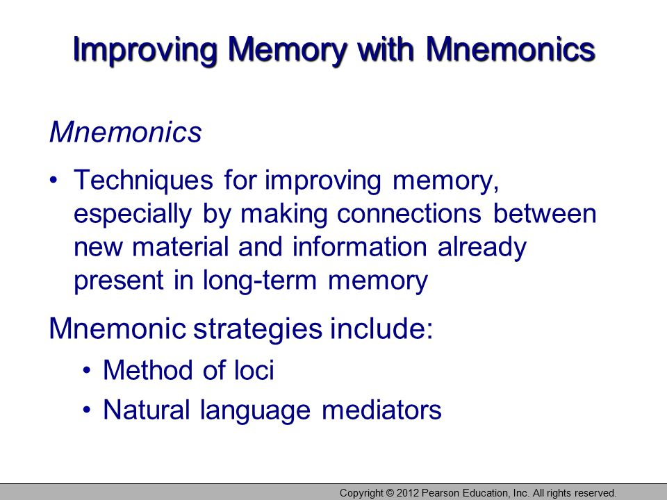 Improving Memory with Mnemonics