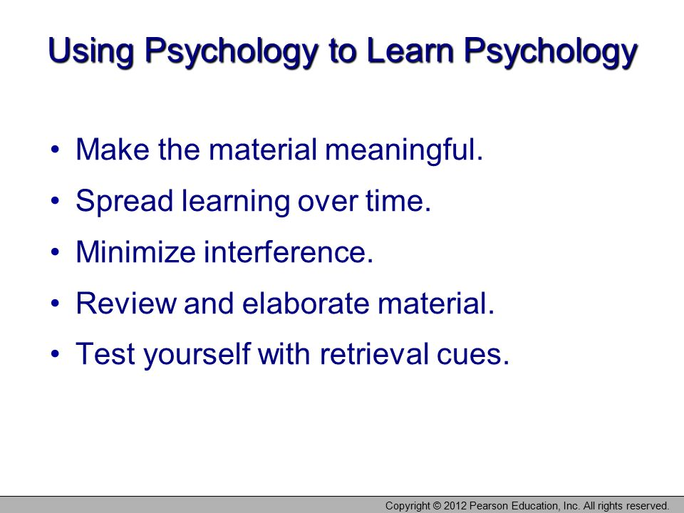Using Psychology to Learn Psychology
