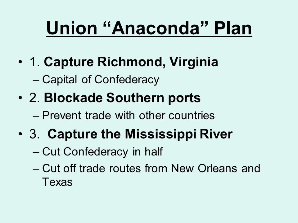 Union Anaconda Plan 1. Capture Richmond, Virginia