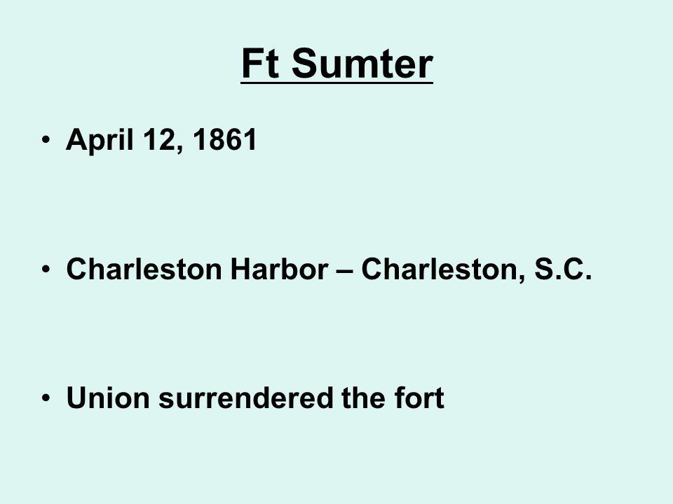 Ft Sumter April 12, 1861 Charleston Harbor – Charleston, S.C.