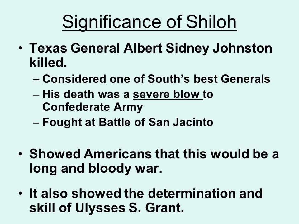 Significance of Shiloh