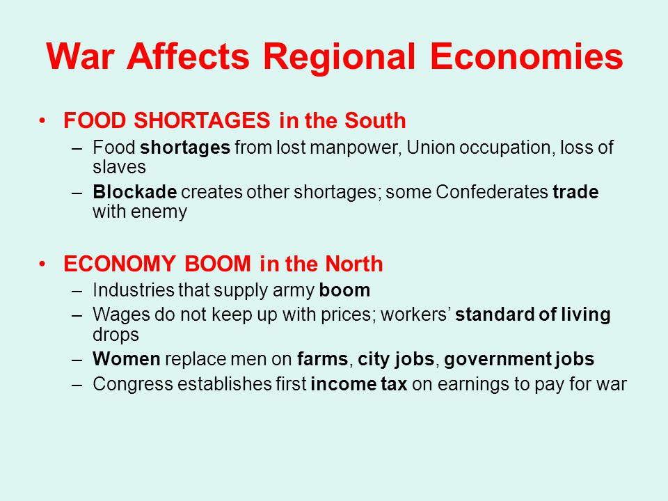 War Affects Regional Economies