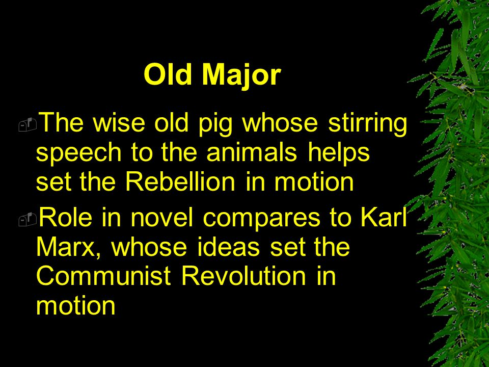 Old Major The wise old pig whose stirring speech to the animals helps set the Rebellion in motion.
