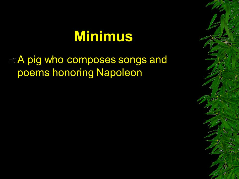 Minimus A pig who composes songs and poems honoring Napoleon