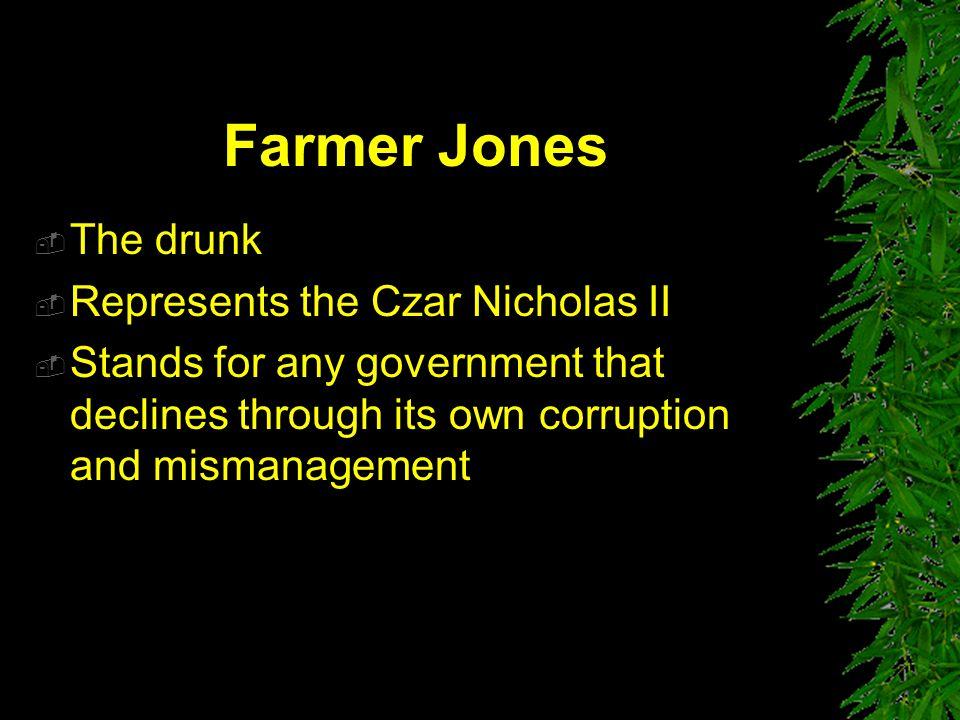 Farmer Jones The drunk Represents the Czar Nicholas II