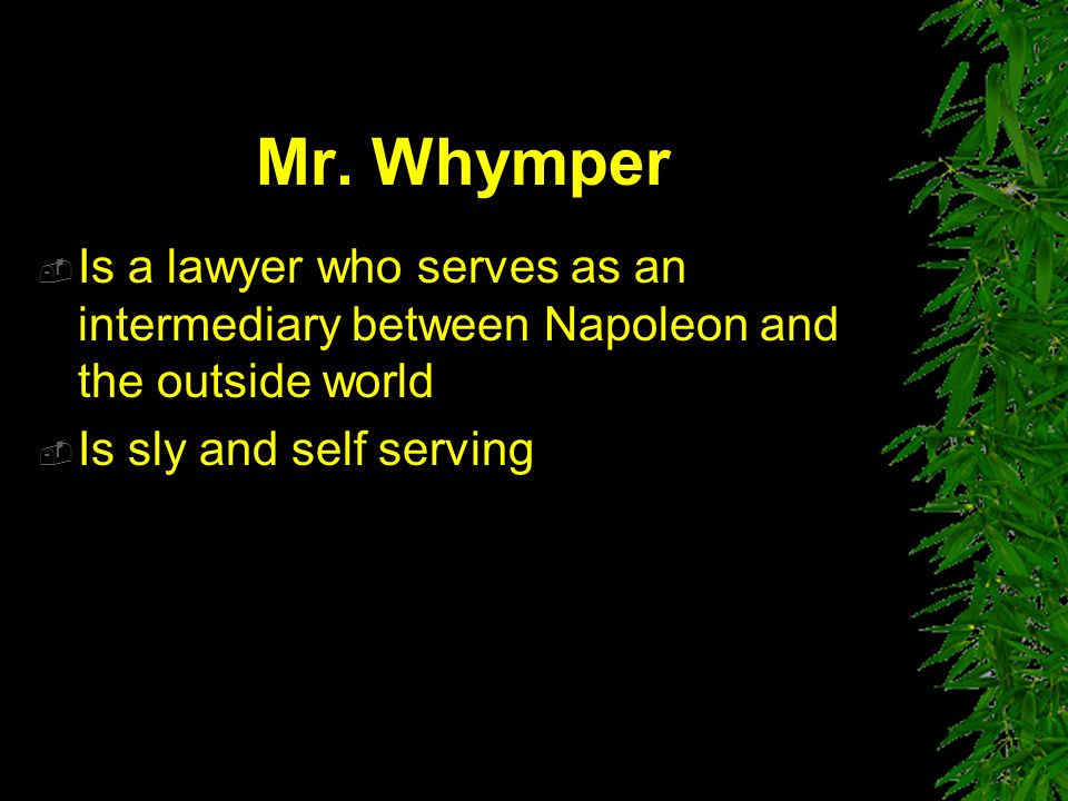 Mr. Whymper Is a lawyer who serves as an intermediary between Napoleon and the outside world.