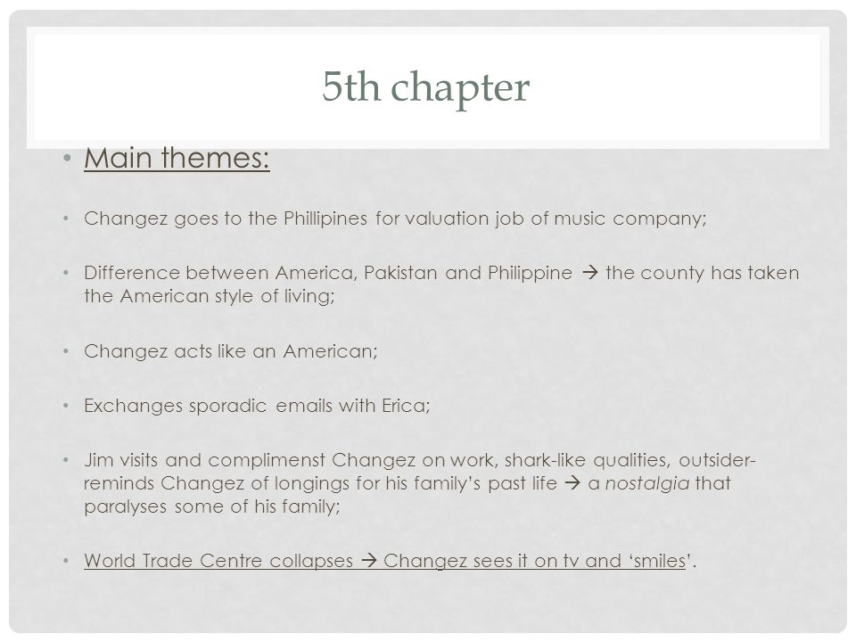 5th chapter Main themes: