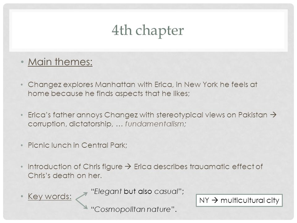4th chapter Main themes: Key words: