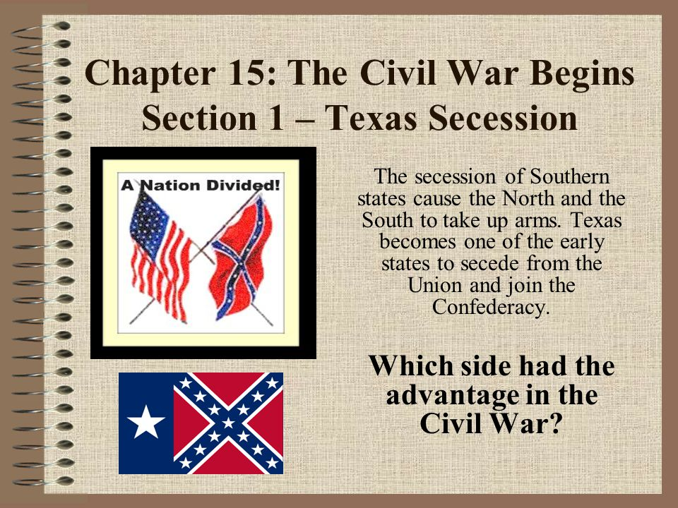 Chapter 15: The Civil War Begins Section 1 – Texas Secession