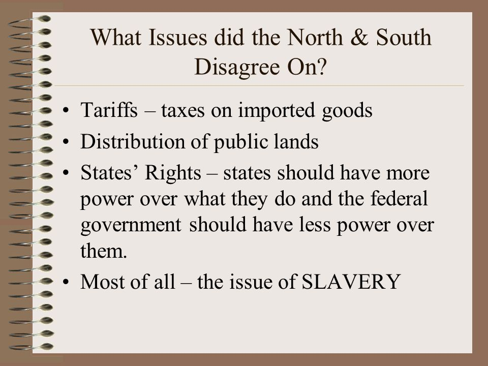 What Issues did the North & South Disagree On