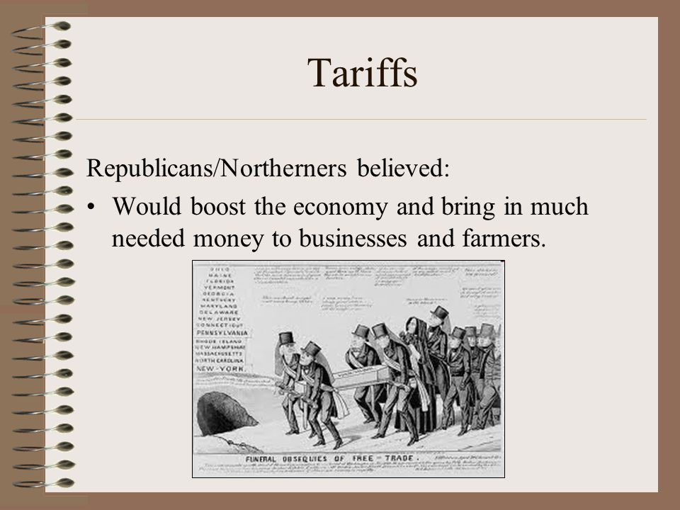 Tariffs Republicans/Northerners believed: