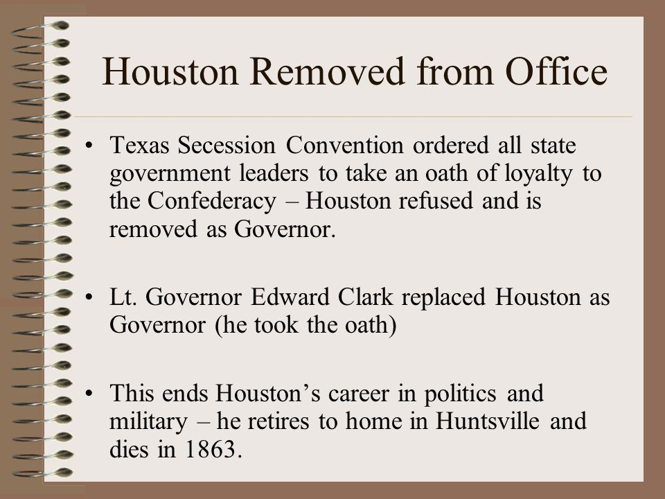 Houston Removed from Office