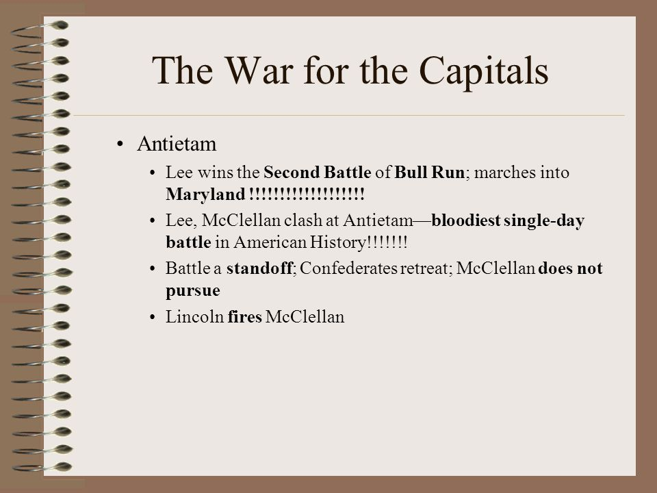 The War for the Capitals