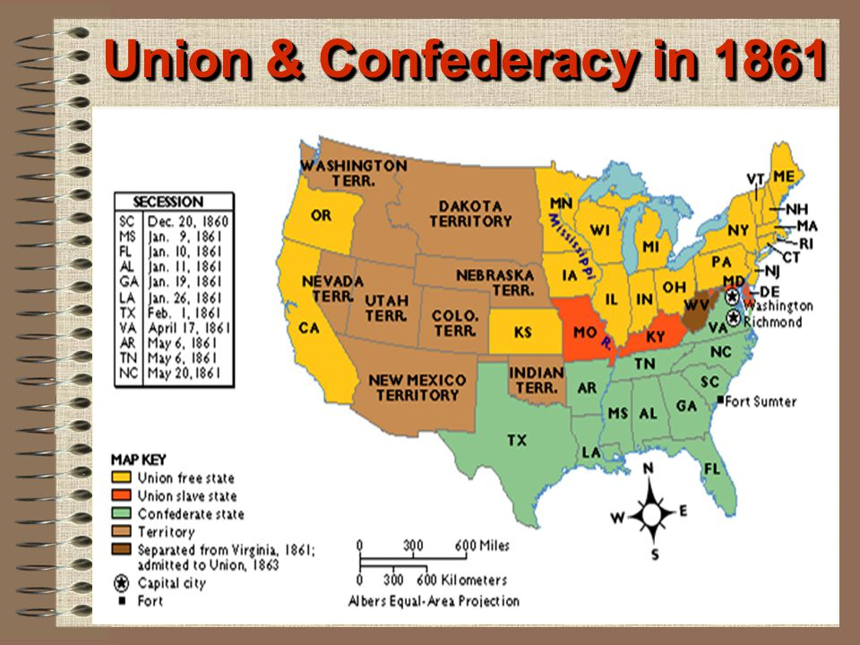 Union & Confederacy in 1861