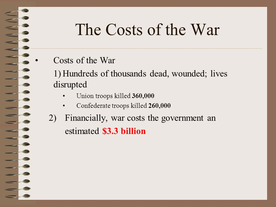 The Costs of the War Costs of the War