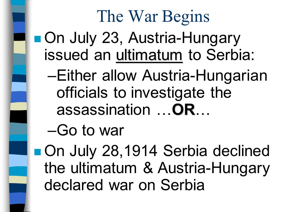 The War Begins On July 23, Austria-Hungary issued an ultimatum to Serbia: