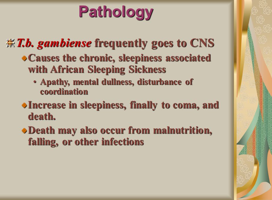 Pathology T.b. gambiense frequently goes to CNS