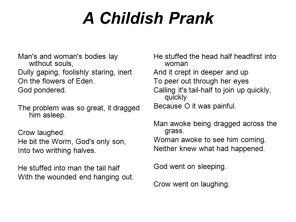 A Childish Prank Man s and woman s bodies lay without souls,