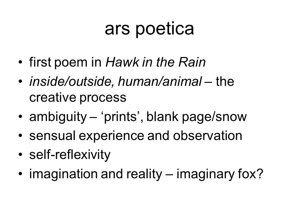 ars poetica first poem in Hawk in the Rain