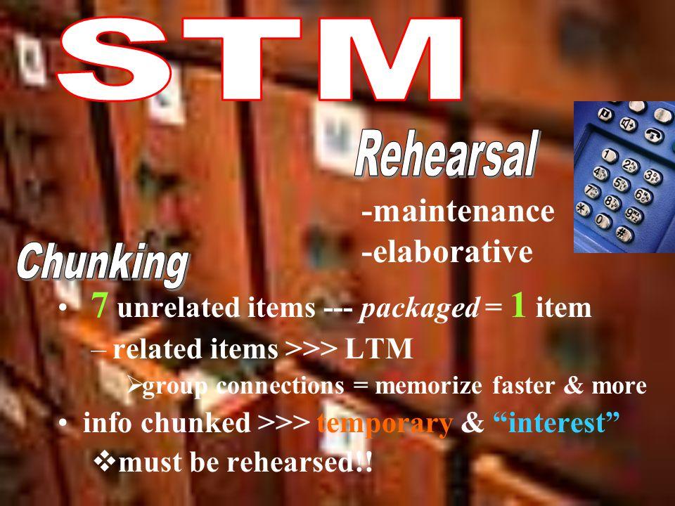 STM Rehearsal -maintenance -elaborative Chunking