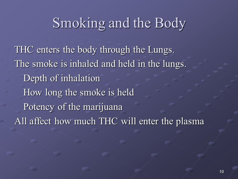 Smoking and the Body THC enters the body through the Lungs.