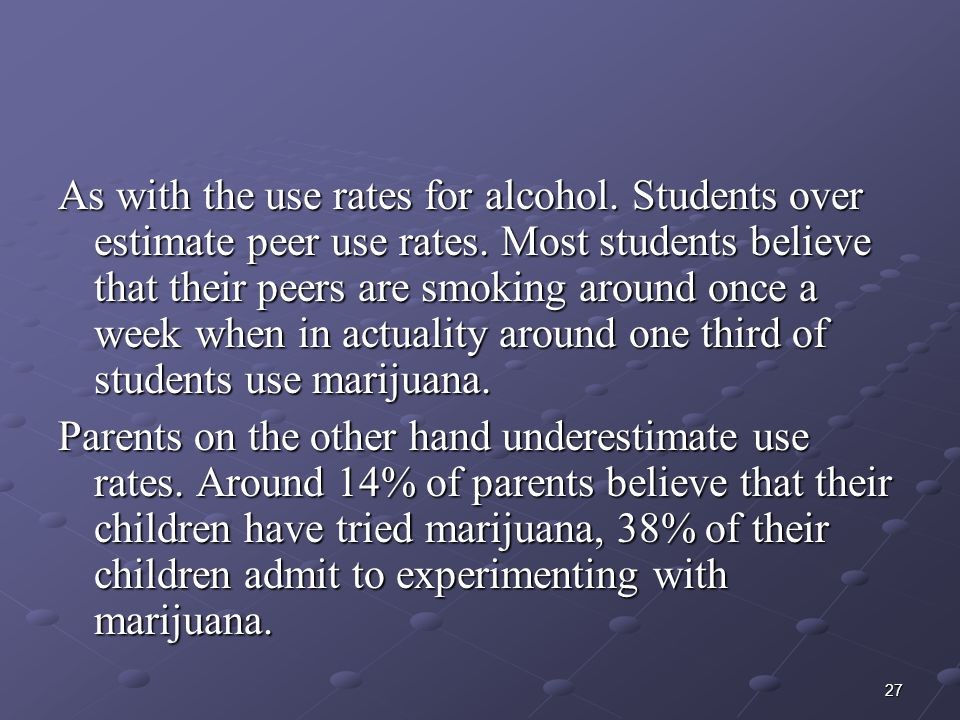 As with the use rates for alcohol