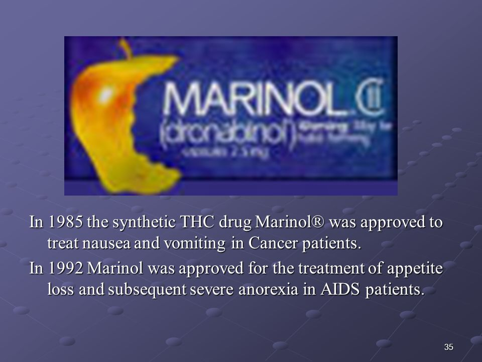 In 1985 the synthetic THC drug Marinol® was approved to treat nausea and vomiting in Cancer patients.