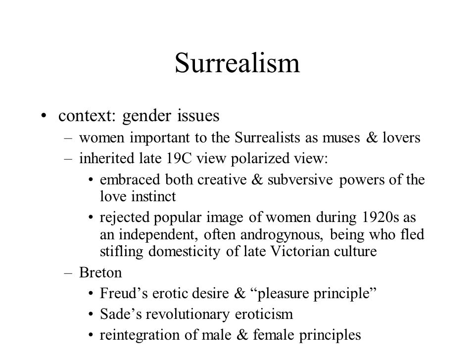 Surrealism context: gender issues