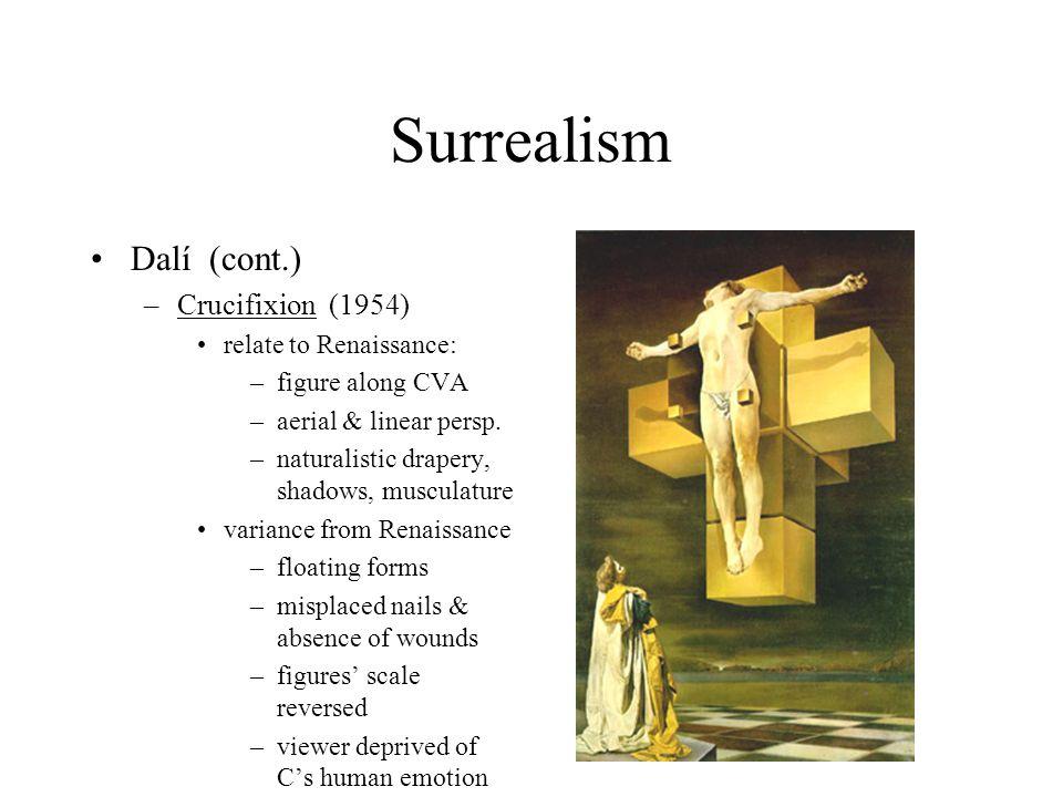 Surrealism Dalí (cont.) Crucifixion (1954) relate to Renaissance: