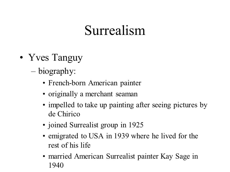 Surrealism Yves Tanguy biography: French-born American painter